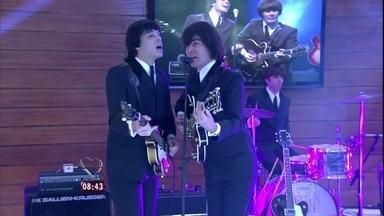 """Grupo """"All You Need Is Love"""" canta """"Help"""" no Mais Você - Banda é a única do Brasil com direitos autorais para fazer shows e gravar DVDs dos Beatles"""