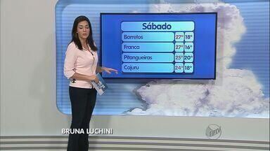 Veja como fica o tempo neste sábado (22) em Ribeirão Preto e região - Algumas cidades da região tiveram transtornos por causa das chuvas.Temperatura não deve subir tanto, em várias cidades o clima fica bem mais fresco devido frente fria na região Sudeste.