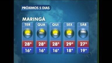 Podem ocorrer pancadas de chuva em Maringá na quarta-feira - Mas na quinta-feira o sol volta a brilhar