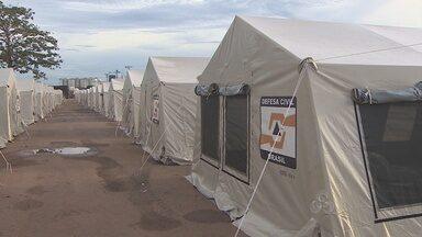 Parque dos Tanques está sendo preparado para receber famílias desabrigadas pela cheia - Local deve ficar pronto na próxima semana.