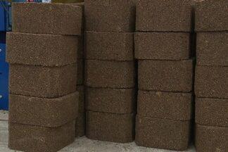 Criadores da Paraíba usam 'bloco nutritivo' para alimentar os animais - Alimento tem formato parecido com um tijolo. Bloco é feito com vários ingredientes, como melaço de cana e farelo de soja.