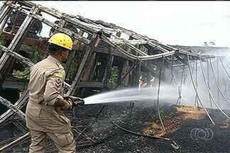 Homem morre carbonizado após acidente na BR-158, em Jataí - A Polícia Rodoviária Federal investiga se um buraco na pista teria causado o acidente.