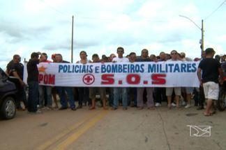 PMs que reivindicam reajuste salarial fizeram protesto na ponte que liga o MA ao PI - Manifestação durou mais de três horas.