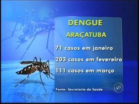 Casos de dengue diminuem, mas Araçatuba mantém estado de alerta - Araçatuba (SP) continua em estado de alerta por causa da dengue, mesmo com a redução de casos no mês de março em comparação com fevereiro. Desde o começo do ano, a cidade registrou 385 casos da doença.
