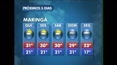 Tem previsão de chuva para os próximos dias em Maringá - O tempo segue instável até a próxima segunda-feira na região