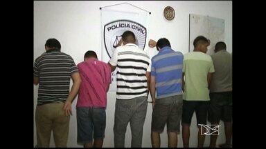 Quadrilha é apresentada em Imperatriz - Grupo foi preso por suspeita de tráfico de drogas, roubo e receptação de produtos roubados.
