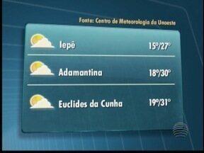 Previsão para este domingo é de tempo firme e sol na região - Confira como ficam as temperaturas em todo o Oeste Paulista.