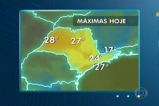 Previsão de sol e poucas nuvens em São Paulo - Só há previsão de chuva à tarde no extremo oeste do estado por causa de áreas de instabilidade que chegam do Paraná. No mais, o dia deve ser de sol com poucas nuvens em São Paulo.