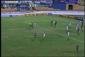 Icasa cria primeira chance de perigo com Danilinho - Danilinho aproveita uma sobra na entrada da área e chuta para o gol. A bola desvia e vai para escanteio.