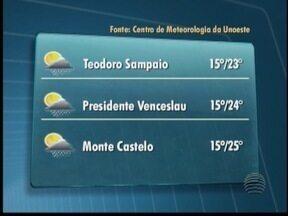 Frente fria deve provocar chuva em algumas cidades da região - Veja como fica o tempo em algumas cidades.