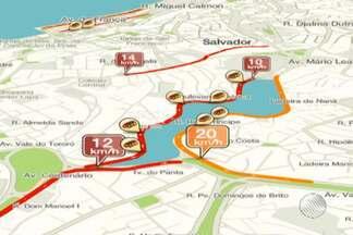 Confira os pontos de lentidão no trânsito pelo Mapa da Velocidade - Para conferir ao vivo acesse g1.com.br/bahia/mapadavelocidade