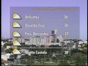 Meteorologia prevê tempo firme na região de Presidente Prudente - Veja como devem ficar as temperaturas em algumas cidades.