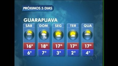 Sábado de chuva na região de Guarapuava - O sábado amanhece nublado e a chuva pode vir à tarde.