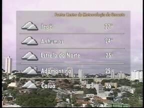 Meteorologia prevê tempo instável no Oeste Paulista - Veja como devem ficar as temperaturas em algumas cidades da região.