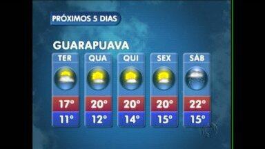 A terça-feira será de tempo nublado com aberturas de sol na região de Guarapuava - A frente fria já se deslocou para o sudeste do Brasil. Não existe previsão de chuva. As temperaturas ainda ficam amenas.