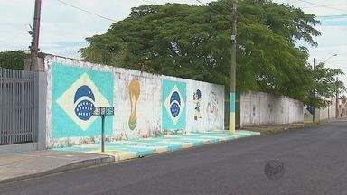 No clima da Copa, moradores de São Carlos pintam ruas, árvores, postes e muros - No clima da Copa, moradores de São Carlos pintam ruas, árvores, postes e muros