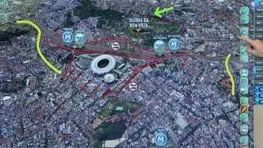Interdições no entorno do Maracanã começam 17 horas antes da partida final da Copa - A Radial Oeste, a rua Visconde de Niterói e a Quinta da Boa Vista ficarão interditadas. Para o torcedor que vai assistir o jogo no estádio, o ideal é usar o trens e metrô. Os bloqueios em Copacabana também sofrerão alterações.