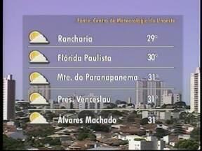 Sexta-feira deve seguir com temperaturas de até 30º C no Oeste Paulista - Umidade do ar fica em torno dos 53% em algumas cidades da região, prevê a meteorologia.