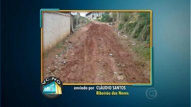 Moradores da Grande BH reclamam de falta de asfaltamento em ruas - Denúncias enviadas ao VC no MGTV partem de quem mora na capital, em Matozinhos e em Ribeirão das Neves.
