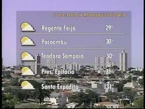 Quinta-feira deve seguir ensolada e com poucas nuvens no Oeste Paulista - Máximas podem chegar aos 39º C em algumas cidades.