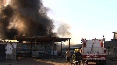 Fogo destrói borracharia no Parque Oeste Industrial, em Goiânia - Fogo começou na vegetação de um lote baldio e se alastrou até atingir um depósito de pneus.