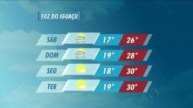 Veja a previsão do tempo para Foz do Iguaçu - No sábado e no domingo há previsão de pancadas de chuva.