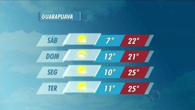 O fim de semana começa com sol em Guarapuava - As temperaturas ficam agradáveis na cidade. Mas podem ocorrer pancadas de chuva e trovoadas em Laranjeiras do Sul, Palmas e União da Vitória.