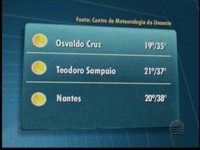 Domingo não deve ter chuva no Oeste Paulista - Máxima é de 37º C em Presidente Prudente.