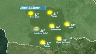 O domingo vai ser ensolarado e quente na região de Guarapuava - Só existe previsão de pancadas de chuva e trovoadas em Laranjeiras do Sul. A temperatura máxima esperada é de 32 graus em Nova Cantu.