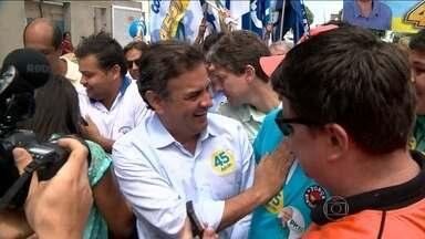 Aécio Neves participa de caminhada no Espírito Santo - No fim da manhã, Aécio Neves participou de uma caminhada no centro da cidade de Linhares, no norte do Espírito Santo. O candidato do PSDB defendeu investimentos da Petrobras para região e para o país, como o polo gás-químico.