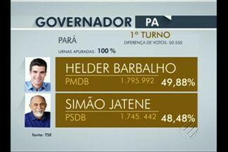 Disputa para governador do Pará será decidida em segundo turno - Diferença de votos entre Hélder Barbalho e Simão Jatene foi de 50 mil 550 votos.