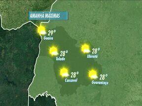 Sol volta a aparecer nesta terça-feira no Oeste do estado - Temperaturas vão subir durante à tarde.
