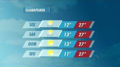 A sexta-feira será quente na região de Guarapuava - Os termômetros atingem 27 graus em Guarapuava e 30 em União da Vitória.