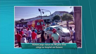 Funcionário de posto usa carro da PM para socorrer colega de trabalho e bate a viatura - O incidente foi ontem, em Goioerê. Policiais tinham deixado o carro para lavar.