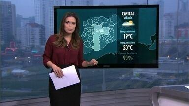 Sábado (22) será de chuva em São Paulo - A previsão é de chuva para todo o estado neste fim de semana. A boa notícia é que ali na região do Cantareira e do Alto Tietê também deve chover forte.