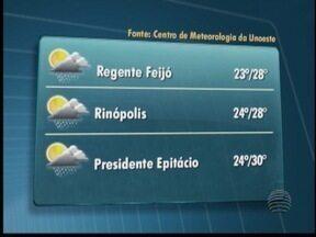 Veja a previsão do tempo para esta quinta-feira no Oeste Paulista - Confira as temperaturas para algumas cidades.