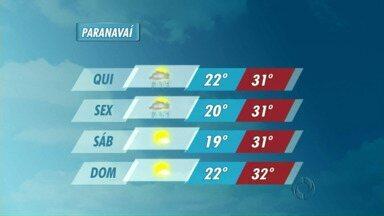 Tempo instável em Paranavaí até o fim da semana - Previsão de tempo fechado até a sexta-feira (05) na cidade.