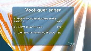 Veja o resultado do 'Você Quer Saber' - 'regras da portabilidade entre bancos' venceu com 69% dos votos
