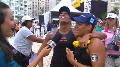 Dupla brasileira de campeões mundiais vence Rei e Rainha do mar 2014 - Em sprint na corrida final, Allan do Carmo e Ana Marcela Cunha vencem competição.