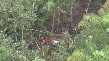 Queda de helicóptero deixa cinco mortos no litoral de SP - Documentos achados em aeronave são de casal de Ribeirão Preto (SP). Aeronave caiu perto da Rodovia Rio-Santos, na altura do município de Bertioga, litoral de São Paulo, na manhã deste sábado.