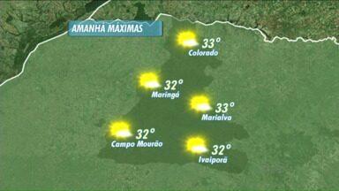 A previsão é de sol e calor neste domingo na região de Maringá - As temperaturas ultrapassam os 30 graus