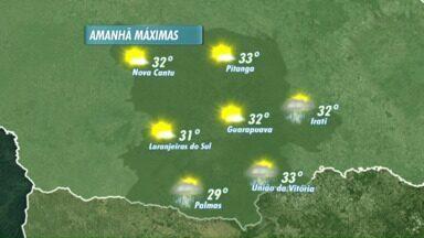 O domingo será quente e ensolarado em Guarapuava - Só existe previsão de pancadas de chuva em Irati, União da Vitória e Palmas. Os termômetros passam dos 30 graus no período da tarde na maioria das cidades.