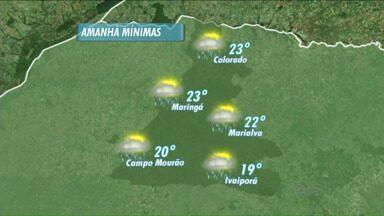 Região de Maringá deve ter chuva nesta quarta-feira - Ainda assim, temperatura não deve cair muito; mínima será de 23 ºC.