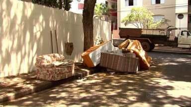 Prefeitura recolhe dezenas de sofás jogados na calçada - Todos estavam no mesmo lugar