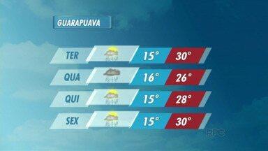 Terça-feira será de sol com pancadas de chuva na região de Guarapuava - A mínima é de 15 graus em Guarapuava e a máxima é de 31 graus em Laranjeiras do Sul.