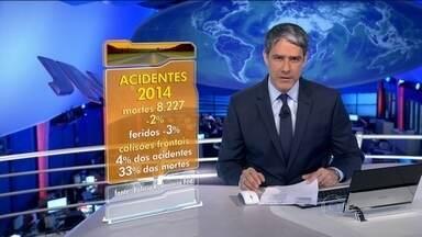 Número de vítimas em acidentes nas rodovias brasileiras cai levemente em 2014 - Em 2014, foram 8,2 mil mortes, uma queda de 2% em relação ao ano anterior. A redução do número de feridos foi de 3%.