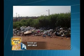 No conjunto Laranjeiras, no Tenoné, há muito lixo espalhado pelo local - Telespectador conta que não é feito a coleta de lixo diariamente e vai se acumulando.
