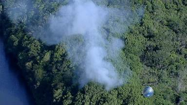 Focos de incêndio são flagrados no Parque de Pituaçu - Área de Mata Atlântica está sendo incendiada no local.