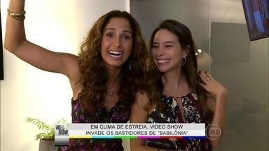 Camila Pitanga brinca com Thiago Fragoso: 'Ele é todo tecnológico' - Em clima de estreia, Vídeo Show invade os bastidores de Babilônia