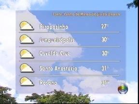 Terça-feira deve permanecer com tempo firme no Oeste Paulista - Veja as temperaturas para algumas cidades.